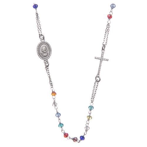 Rosario collar Padre Pío multicolor circones blancos plata 925 1