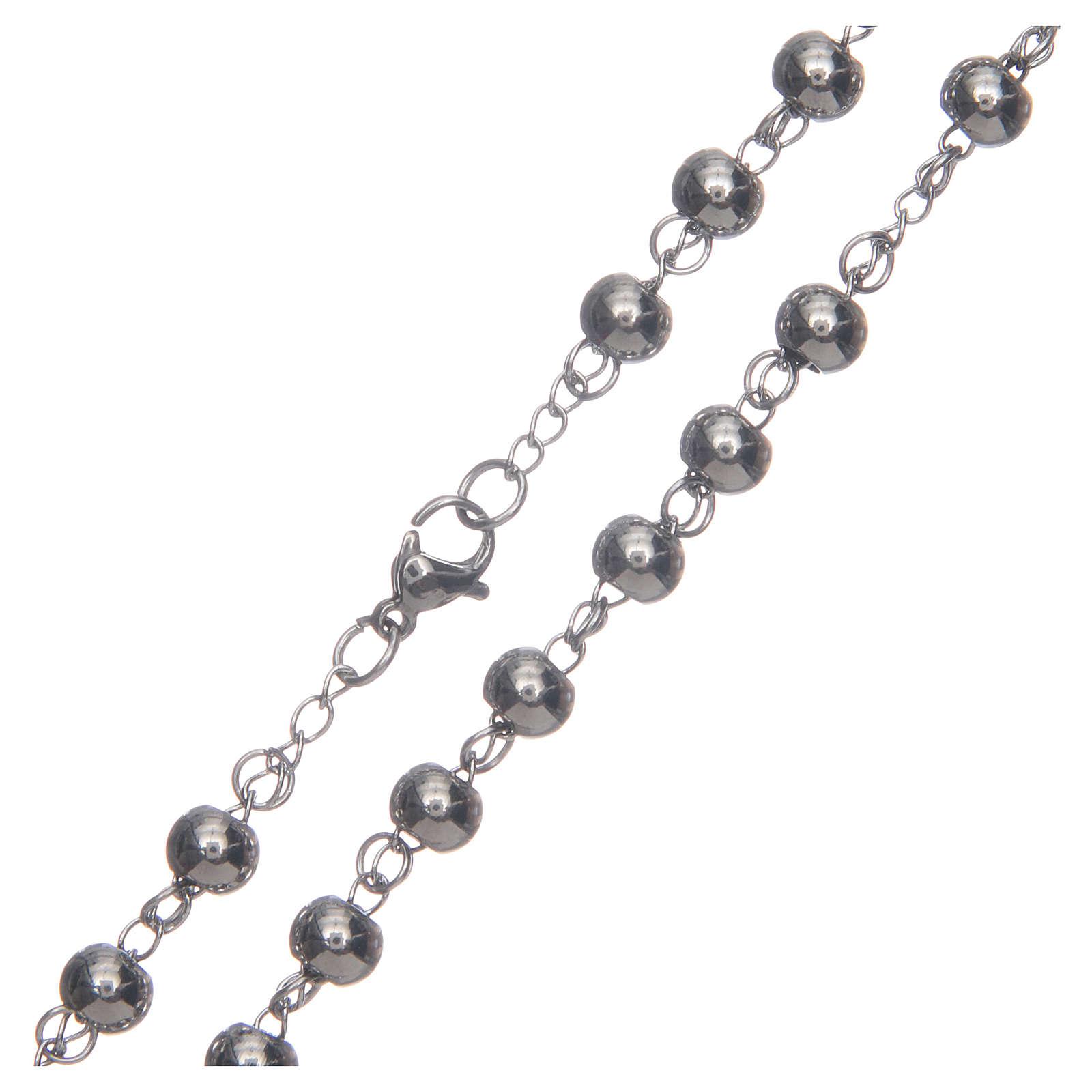 Rosario classico color silver sfera grande acciaio 316L 4