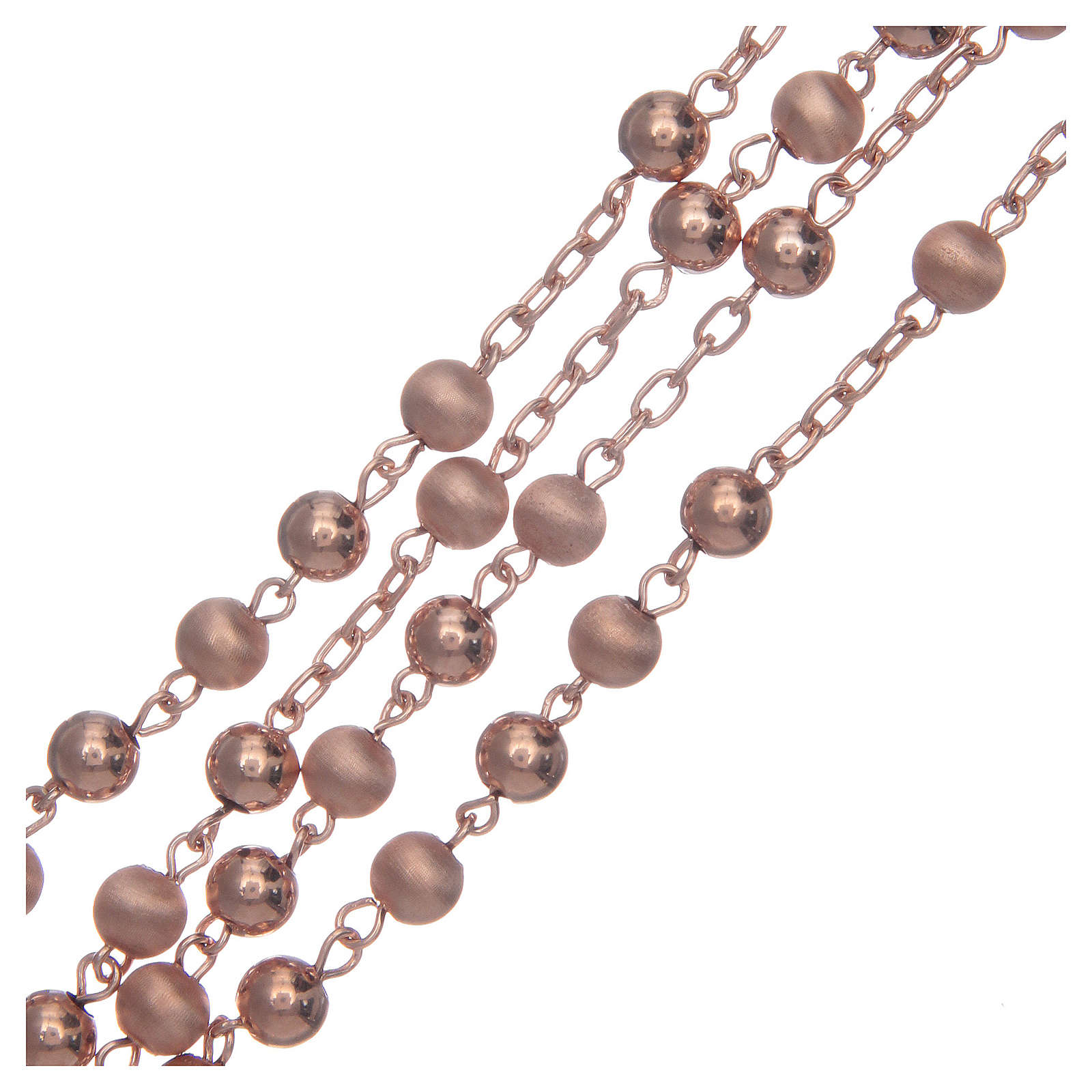 Rosario argento 925 satinato liscio mm 5 rosè 4