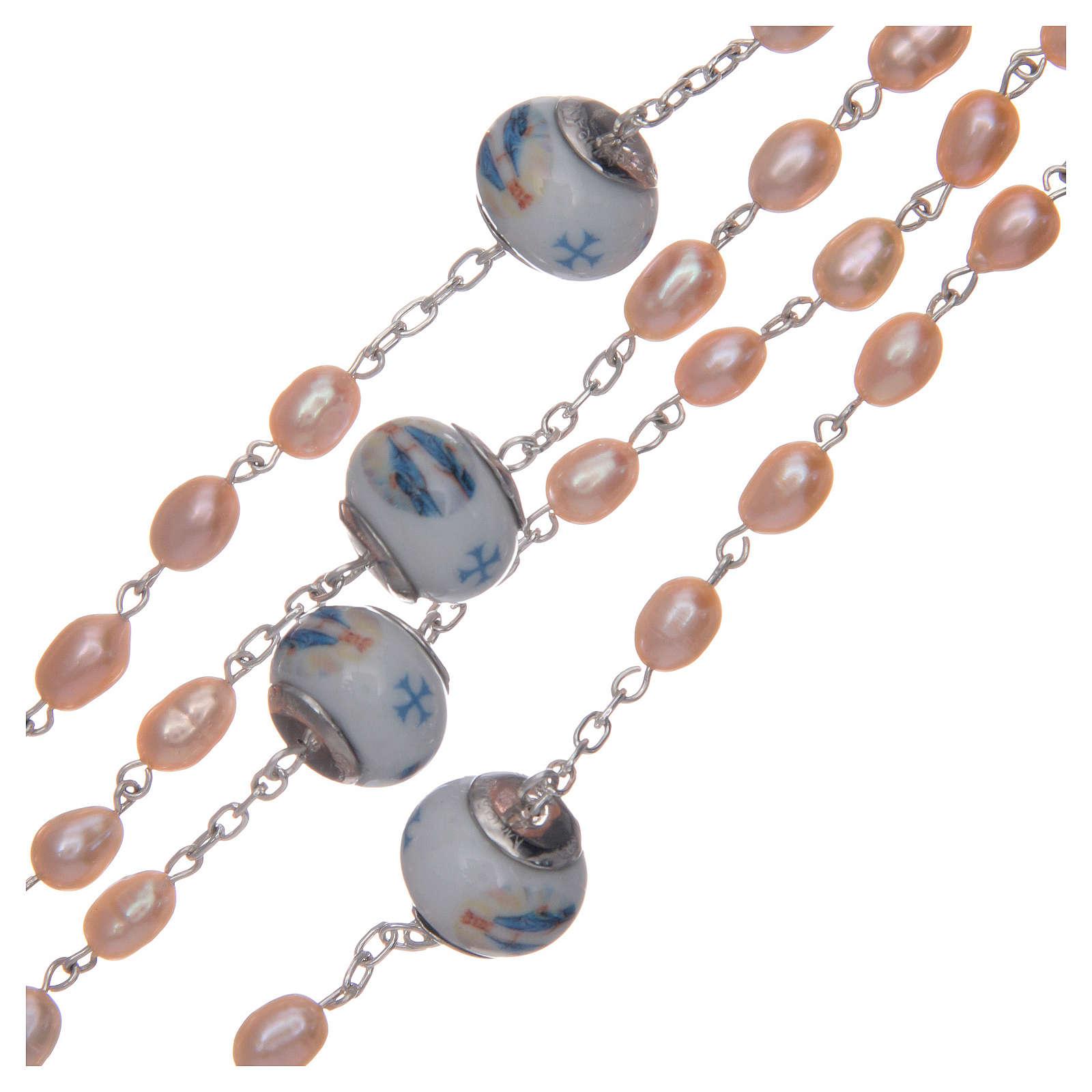 Rosario de plata 925 perlas de río 8x6 mm y Padre cerámica 4