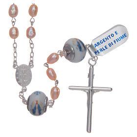 Rosario de plata 925 perlas de río 8x6 mm y Padre cerámica s2