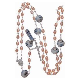 Rosario de plata 925 perlas de río 8x6 mm y Padre cerámica s4