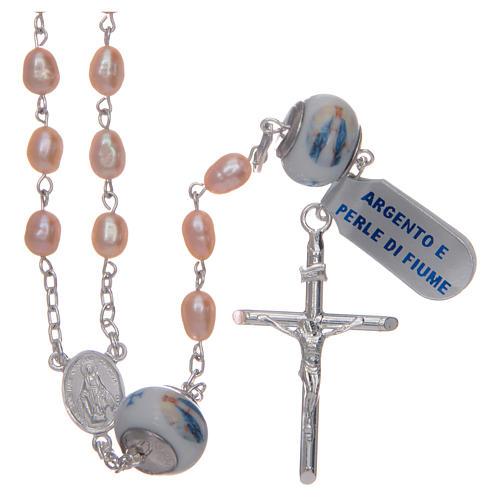 Rosario de plata 925 perlas de río 8x6 mm y Padre cerámica 1
