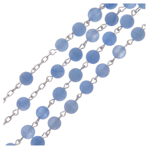 Silver rosary with matte agate beads, 6 mm 3