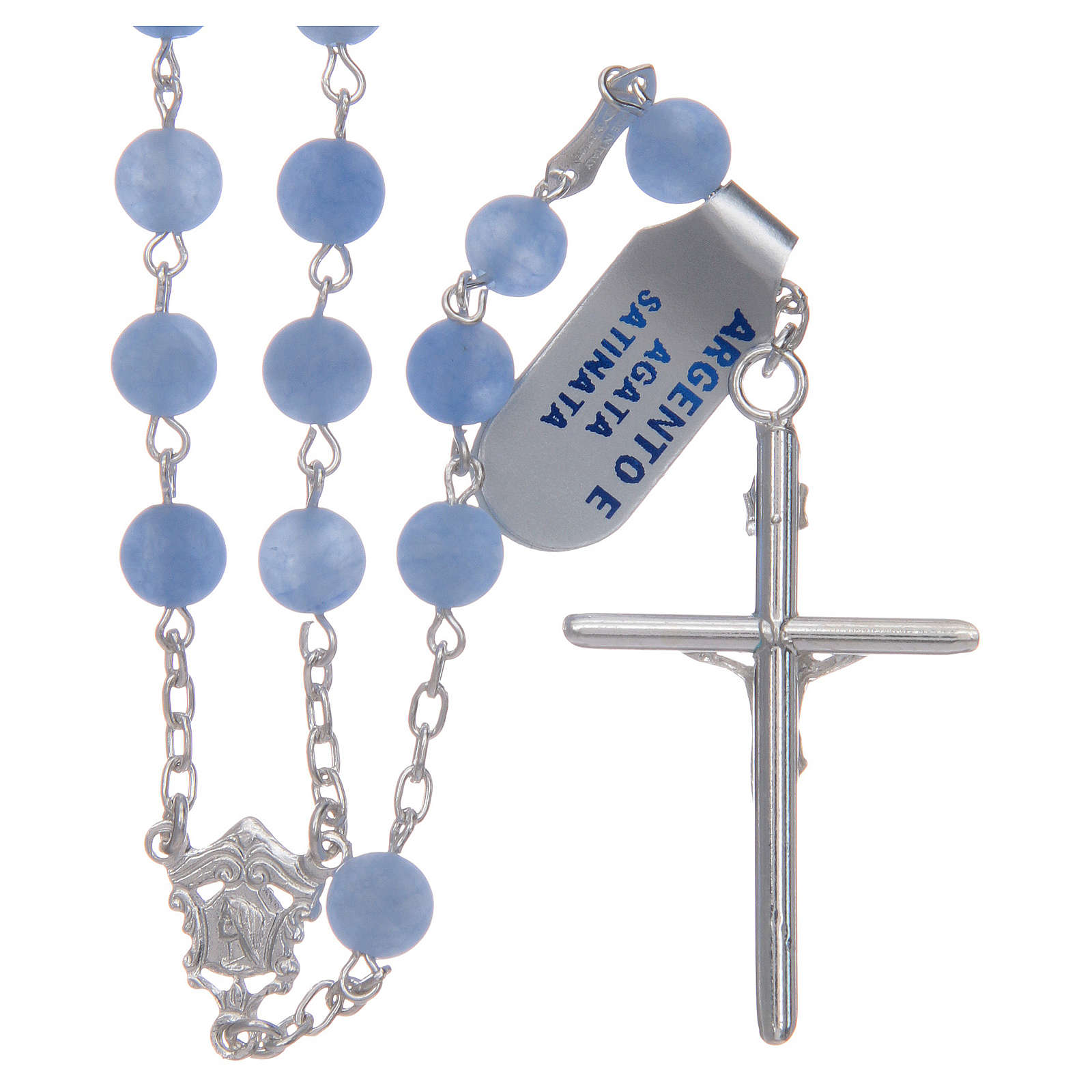 Rosario de plata 925 y ágata satinada 6 mm color azul 4