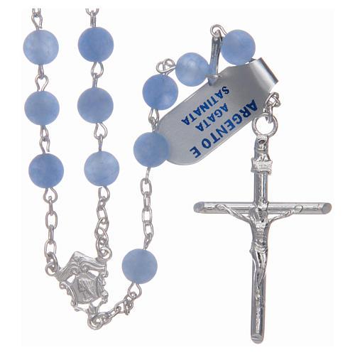 Rosario de plata 925 y ágata satinada 6 mm color azul 1