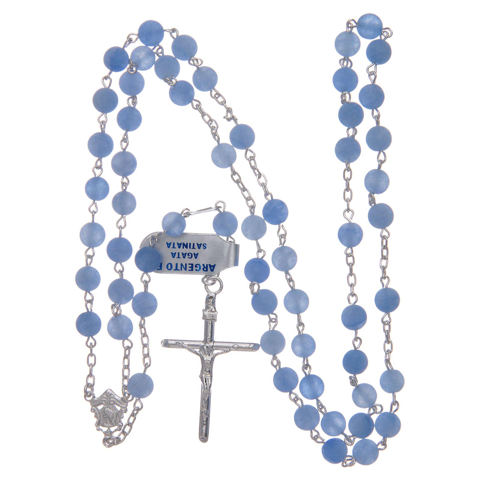 Rosario argento 925 e agata satinata 6 mm azzurro 4