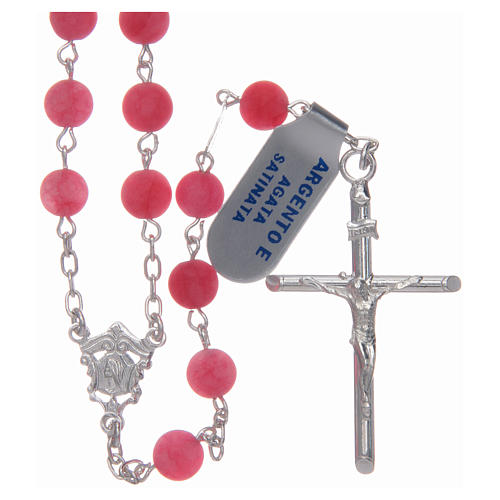 Silver rosary with matte pink agate beads, 6 mm 1