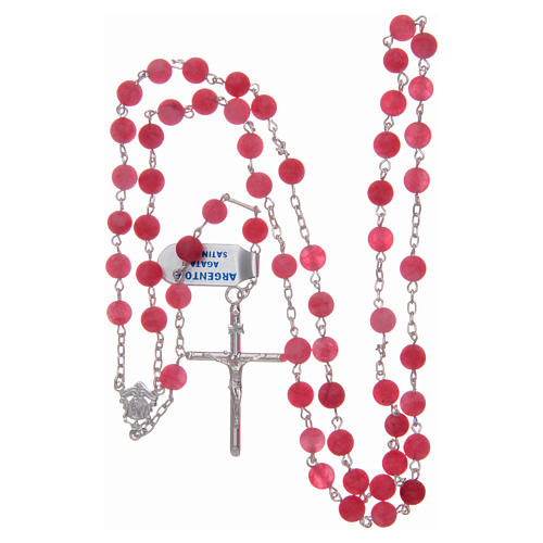 Silver rosary with matte pink agate beads, 6 mm 4