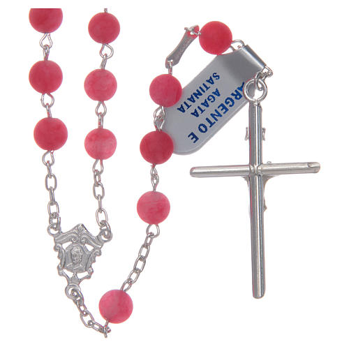 Silver rosary with matte pink agate beads, 6 mm 2