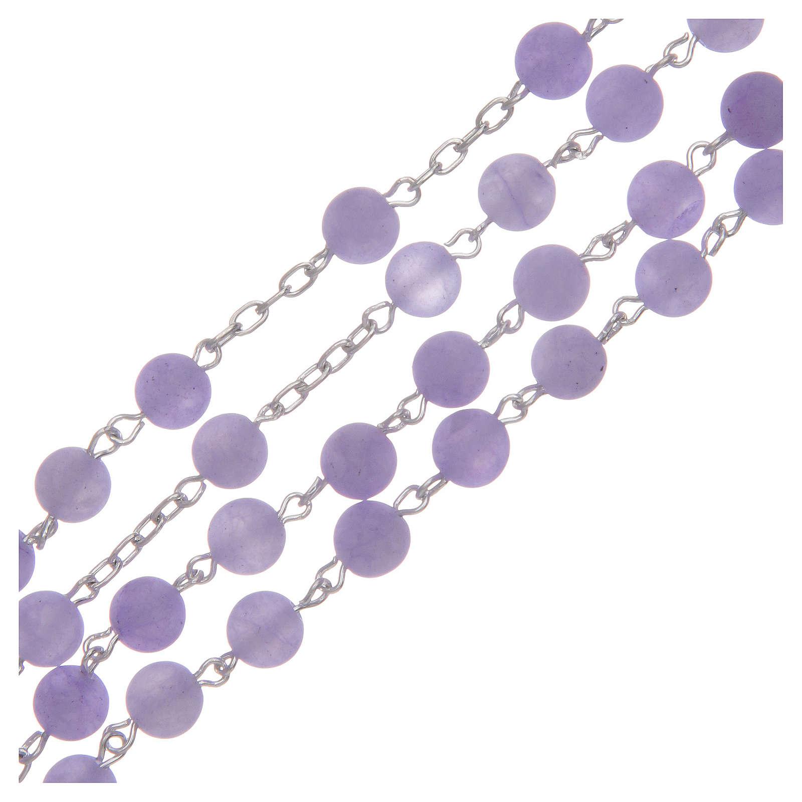Rosario argento 925 e agata satinata 6 mm viola 4
