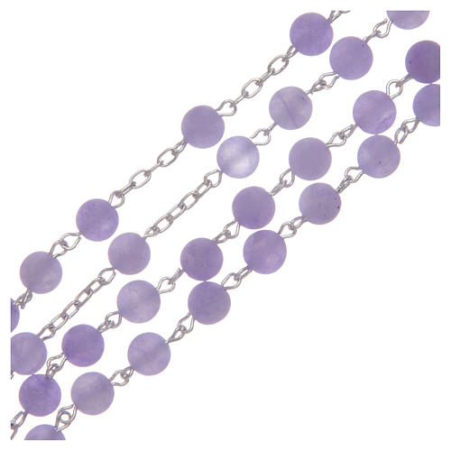 Rosario argento 925 e agata satinata 6 mm viola 3