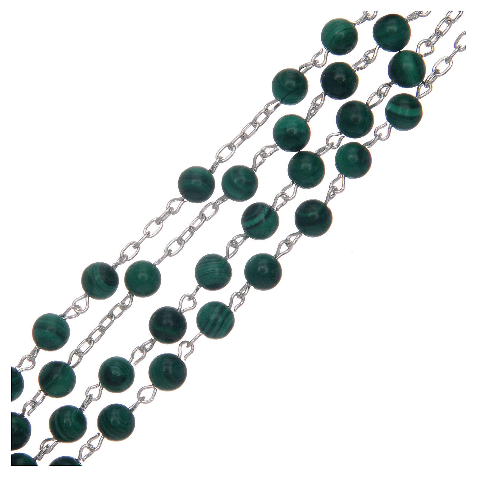 Rosario argento 925 e malachite mm 6 4