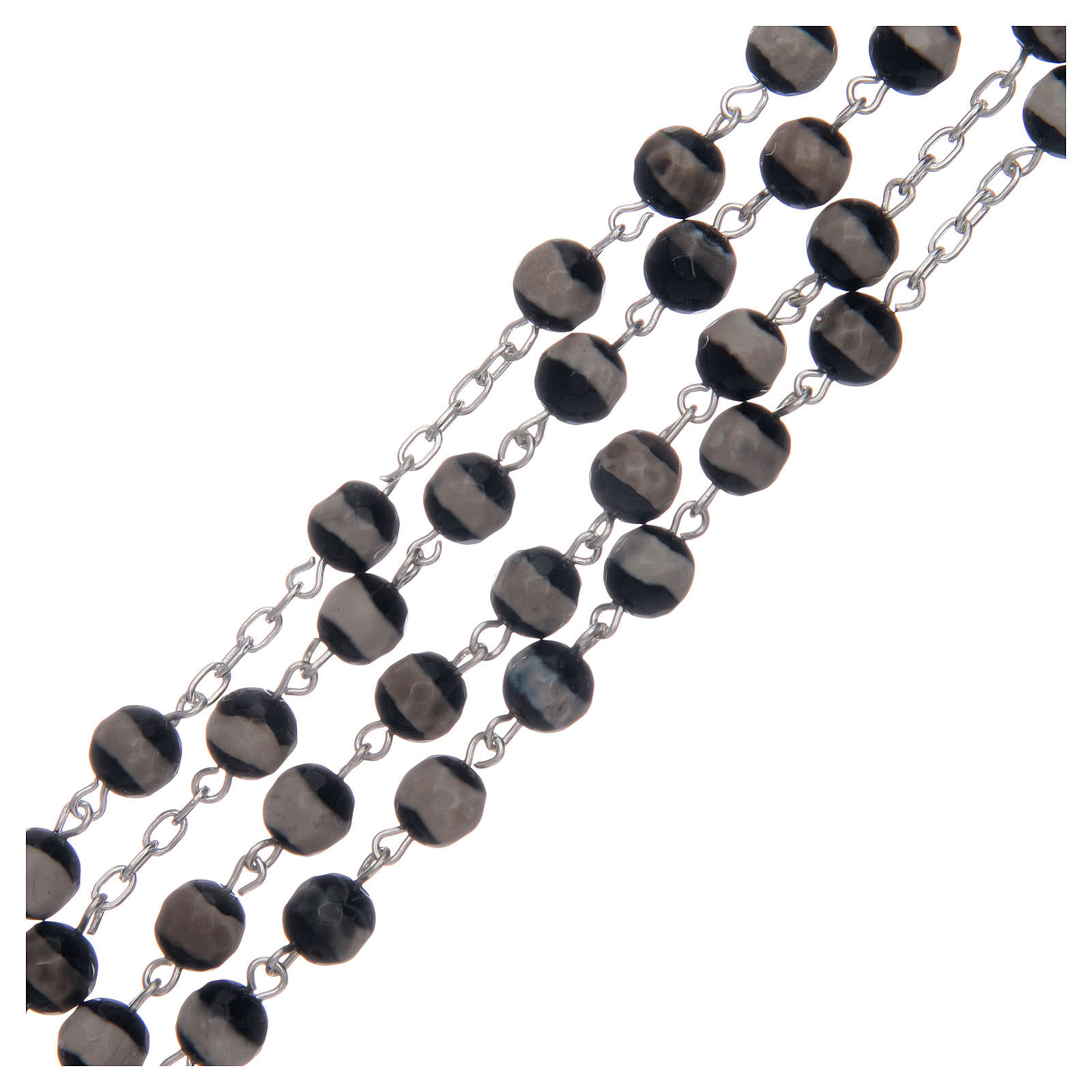 Rosario argento 925 grani esagonali agata tibetana 6 mm 4