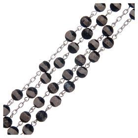 Rosario argento 925 grani esagonali agata tibetana 6 mm s3