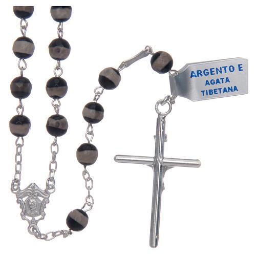 Rosario argento 925 grani esagonali agata tibetana 6 mm 2