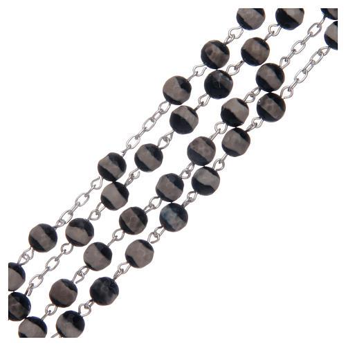 Rosario argento 925 grani esagonali agata tibetana 6 mm 3