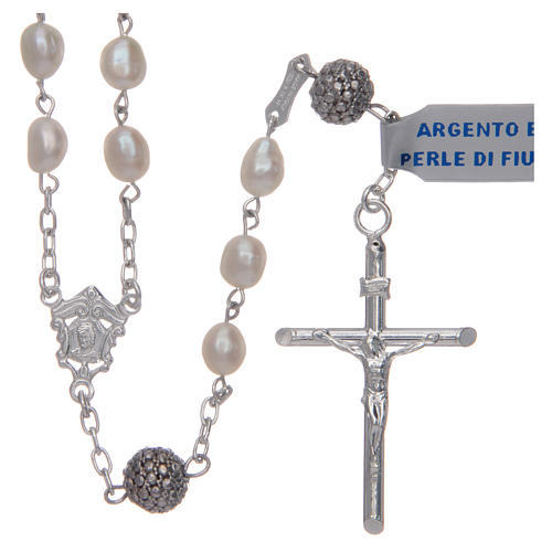 Rosary in 925 sterling silver with white oval river pearls 1