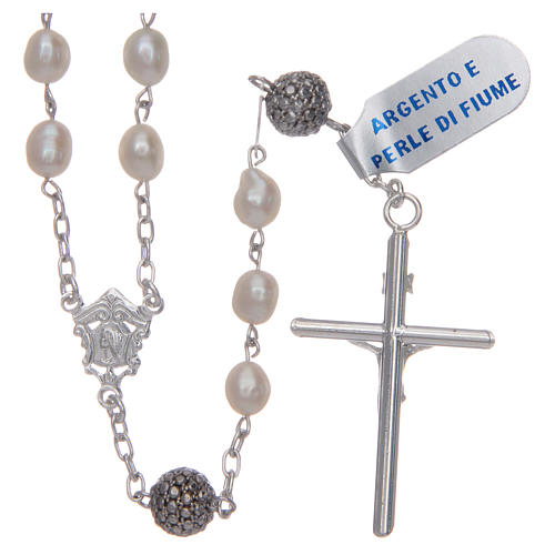 Rosary in 925 sterling silver with white oval river pearls 2