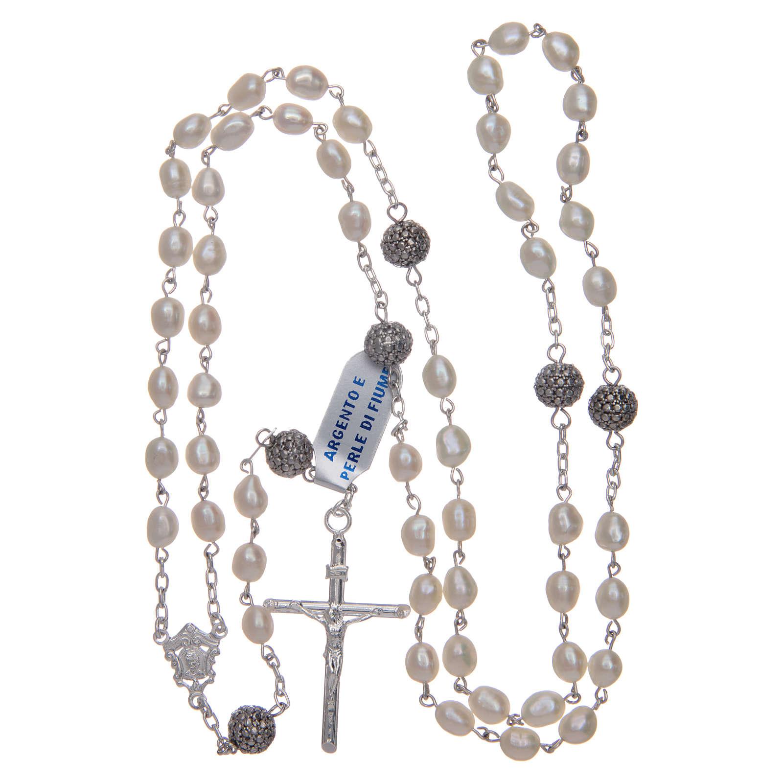 Rosario de plata 925 y perlas de río ovaladas color blanco 4