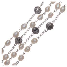 Rosario de plata 925 y perlas de río ovaladas color blanco s3