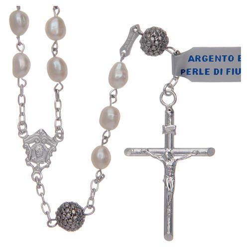Rosario de plata 925 y perlas de río ovaladas color blanco 1