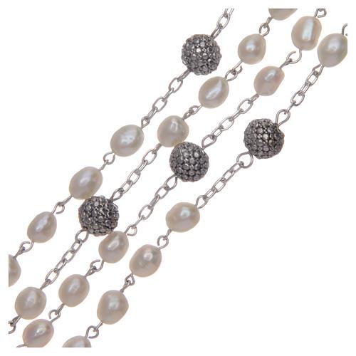 Rosario de plata 925 y perlas de río ovaladas color blanco 3