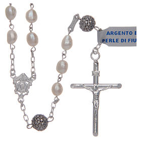 Rosario argento 925 perle di fiume ovali bianche s1