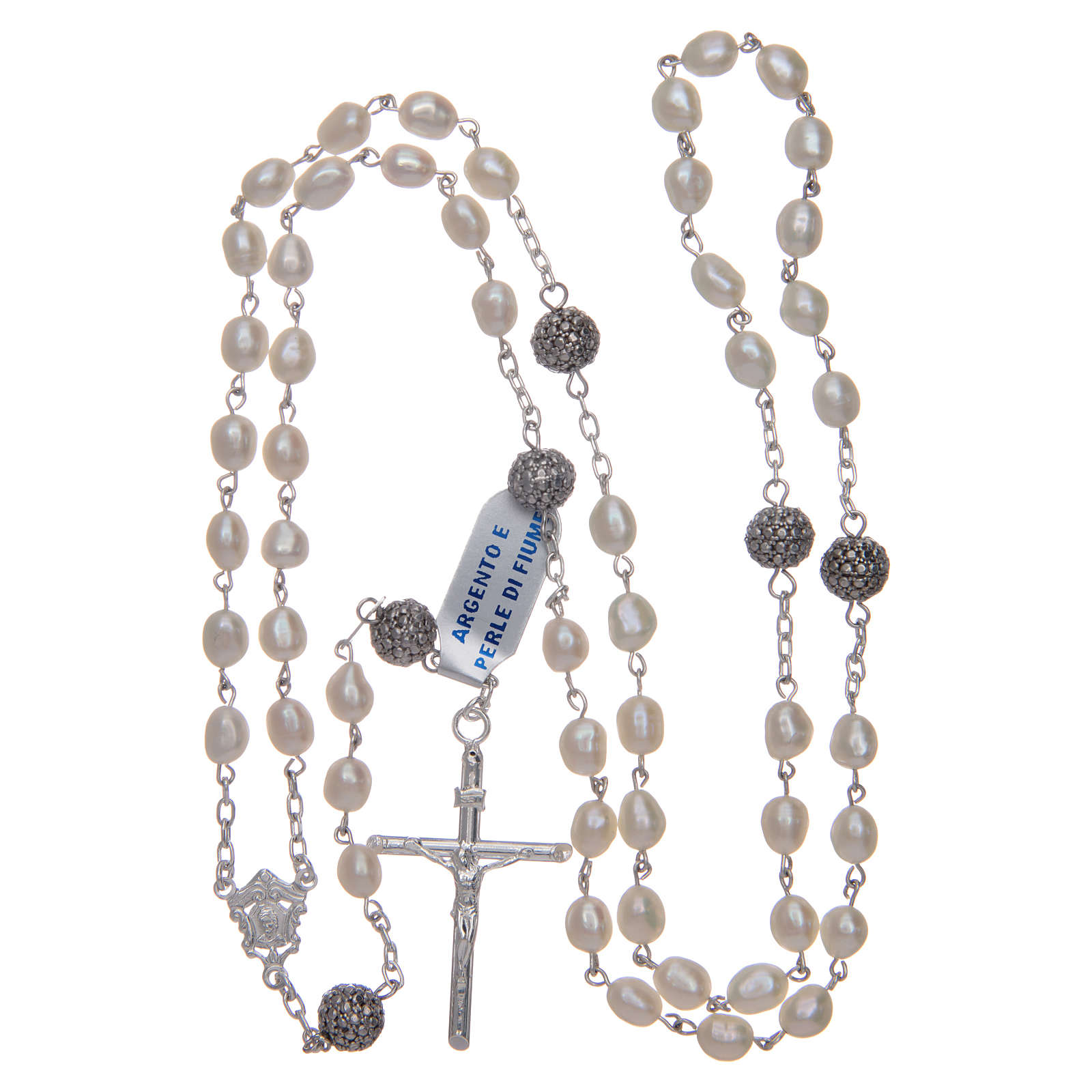 Rosary in 925 sterling silver with white oval river pearls 4