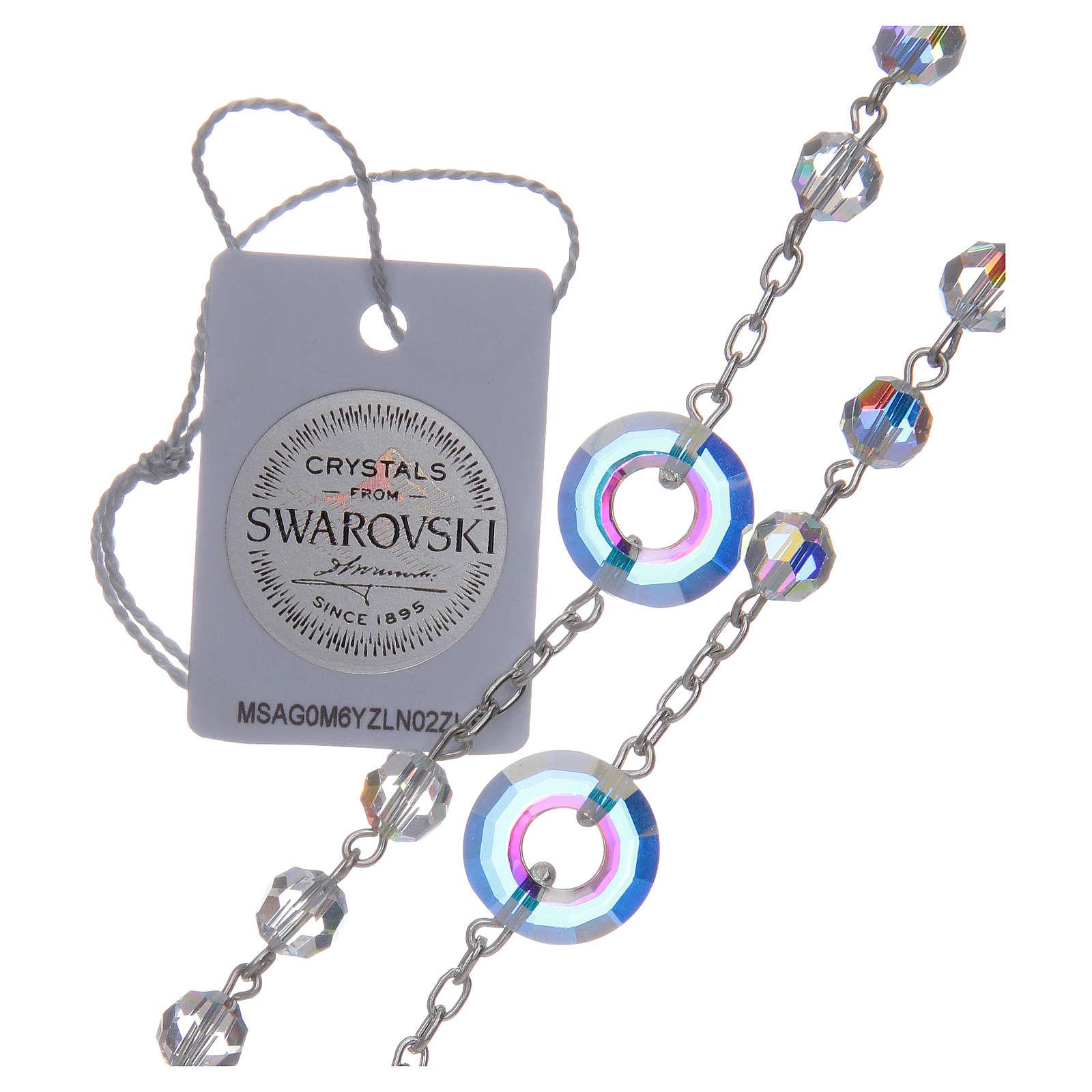 Rosario argento 925 Swarovski trasparenti mm 6 e pater cerchietto 4