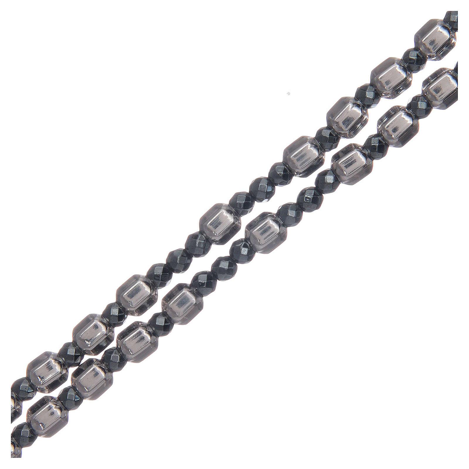 Rosario argento grano esagonale 5 mm 4