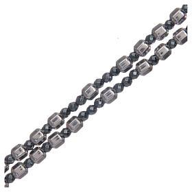 Rosario argento grano esagonale 5 mm s3