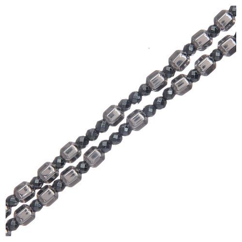 Rosario argento grano esagonale 5 mm 3