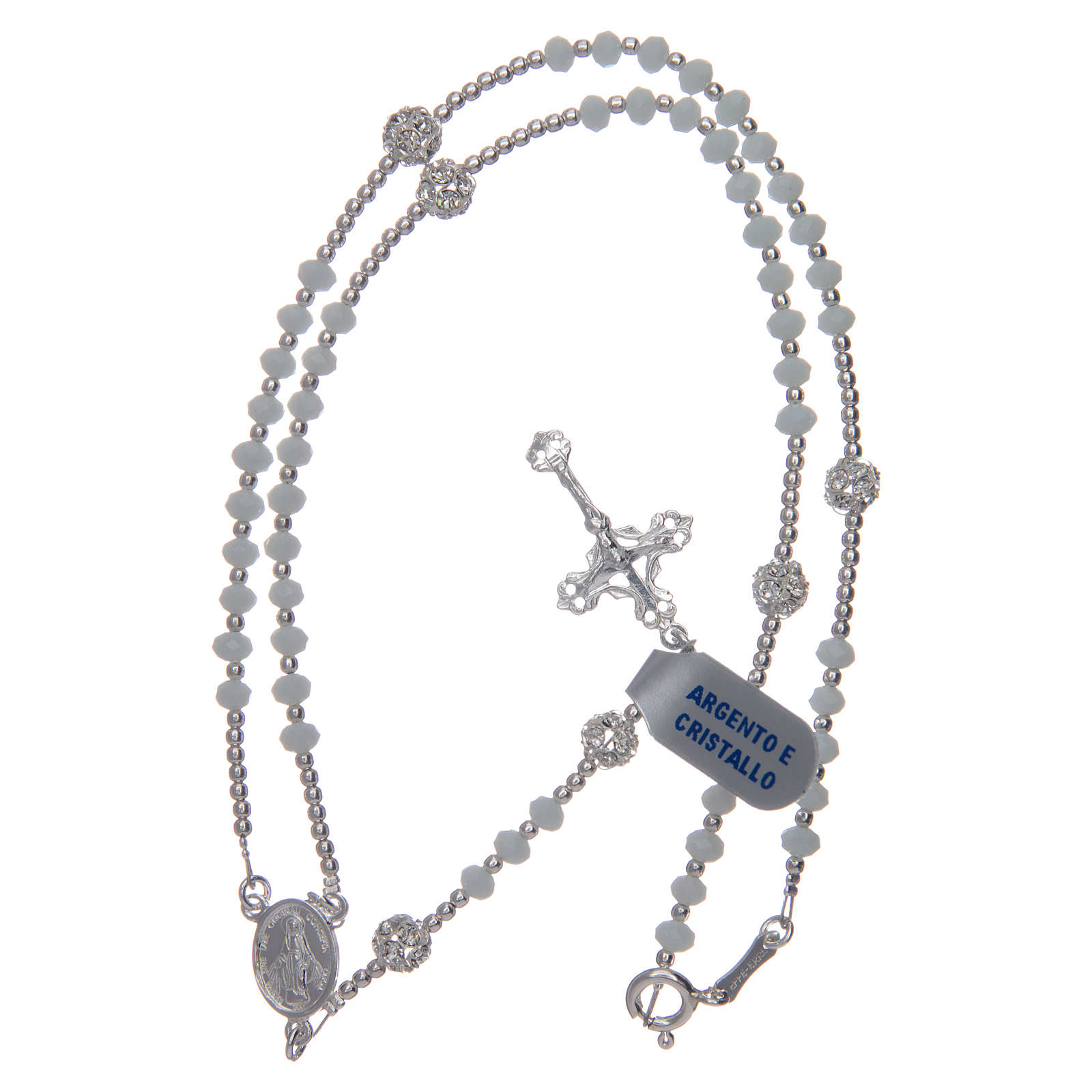 Rosary in 925 sterling silver and pure white crystal 3 mm 4