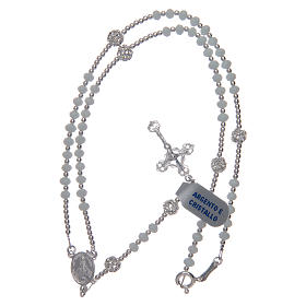 Rosary in 925 sterling silver and pure white crystal 3 mm s5