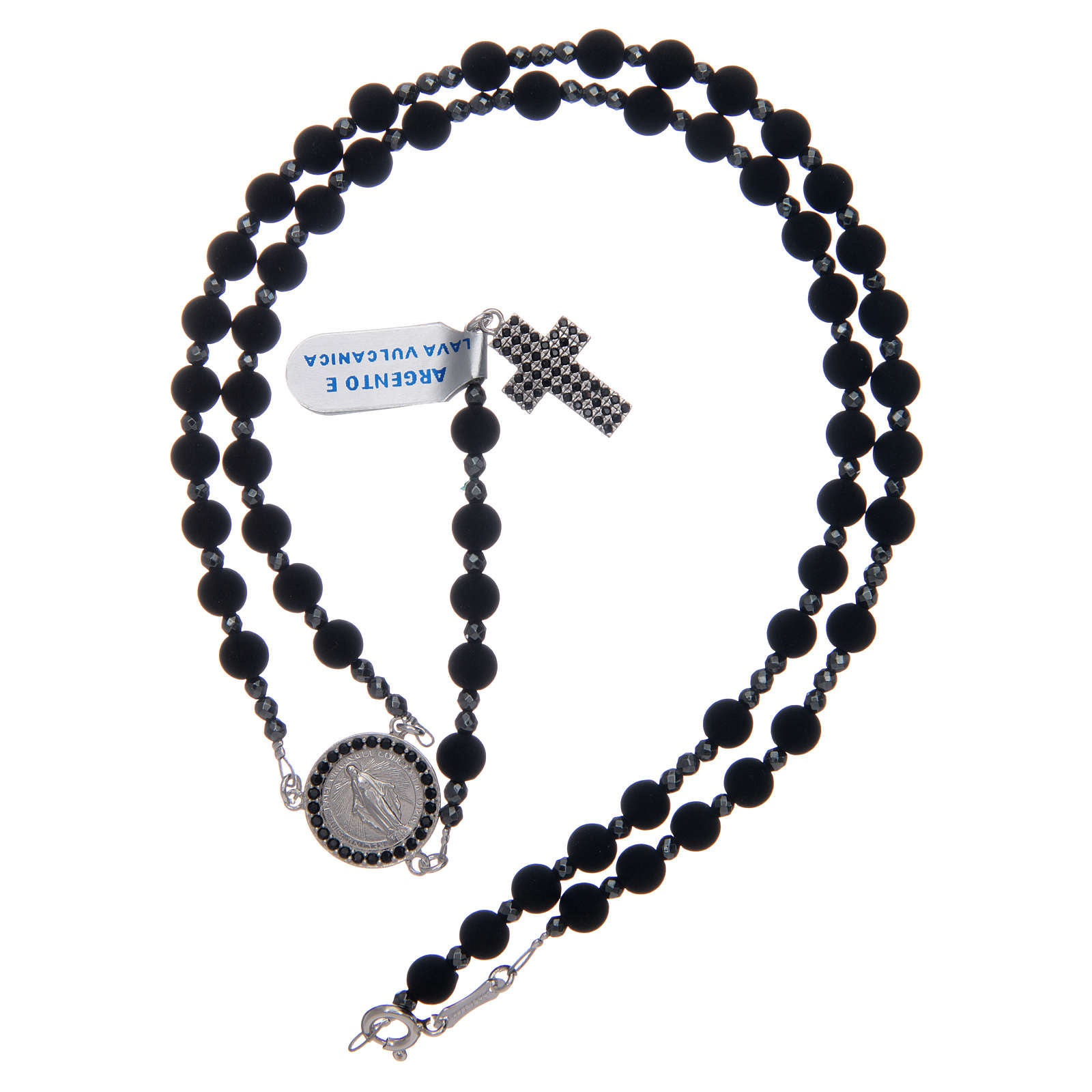 Rosary in 925 sterling silver and vulcanic lava grains sized 6 mm 4