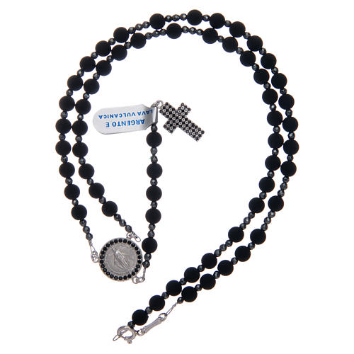 Rosary in 925 sterling silver and vulcanic lava grains sized 6 mm 5
