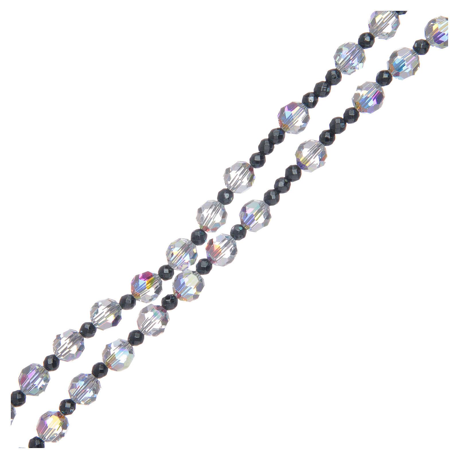 Rosario argento 925 e cristallo trasparente lucido 6 mm 4