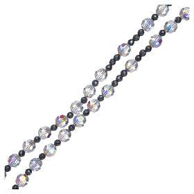 Rosario argento 925 e cristallo trasparente lucido 6 mm s3