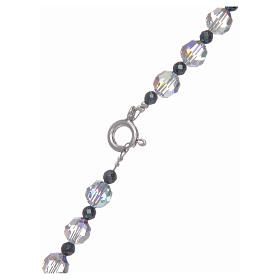 Rosario argento 925 e cristallo trasparente lucido 6 mm s4