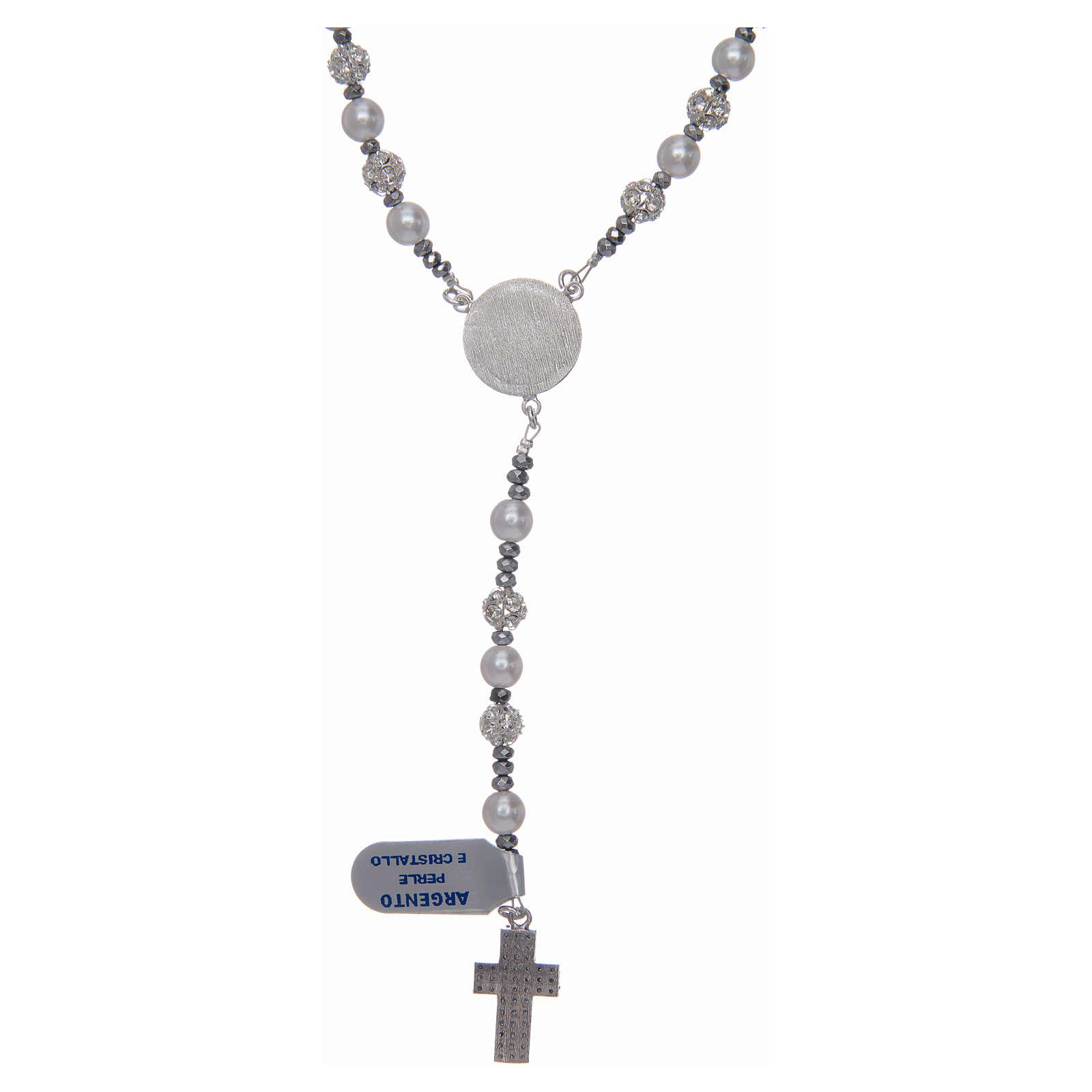 Rosario argento 925 perle e cristallo 6 mm 4