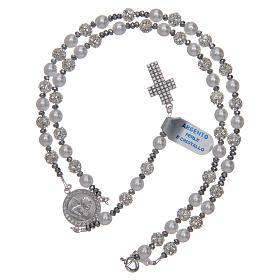 Rosario argento 925 perle e cristallo 6 mm s5