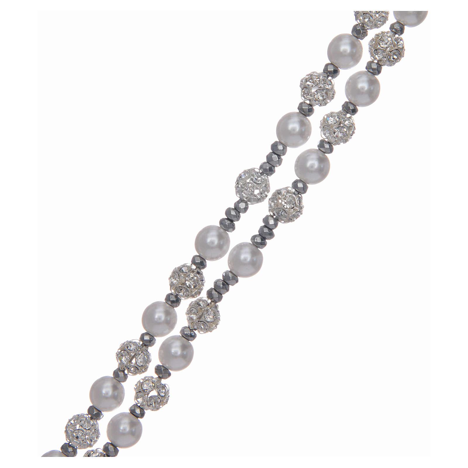 Różaniec srebro 925 perły i kryształ 6 mm 4