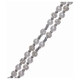 Różaniec srebro 925 perły i kryształ 6 mm s3