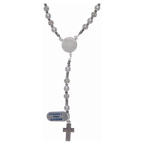 Różaniec srebro 925 perły i kryształ 6 mm 2