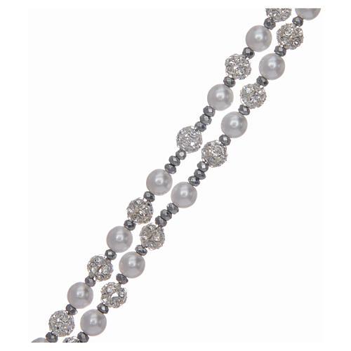 Różaniec srebro 925 perły i kryształ 6 mm 3