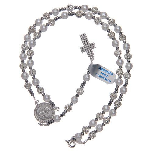 Różaniec srebro 925 perły i kryształ 6 mm 5