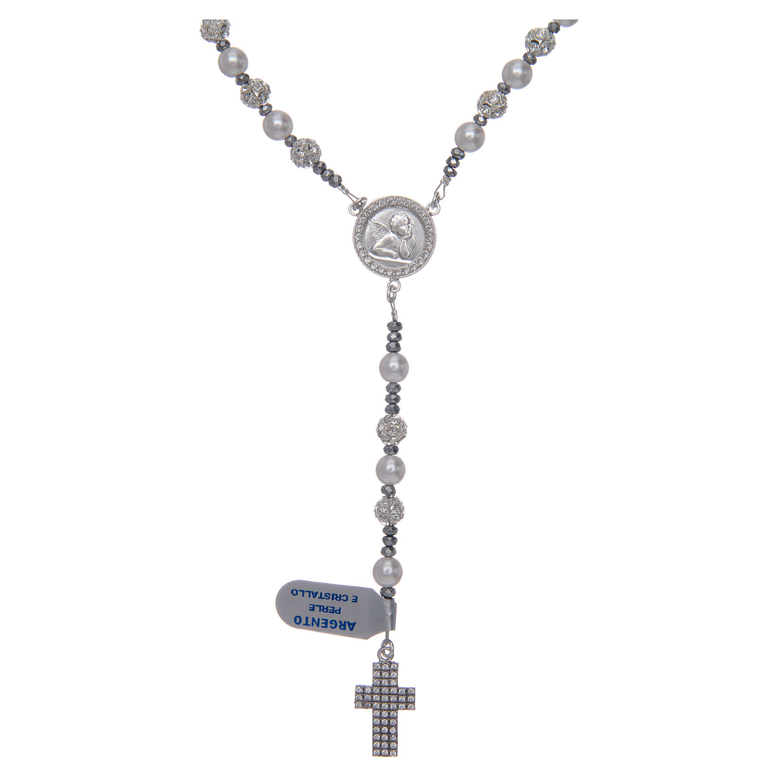 Rosary in 925 sterling silver and crystal 6 mm 4