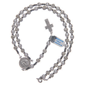 Rosary in 925 sterling silver and crystal 6 mm s5