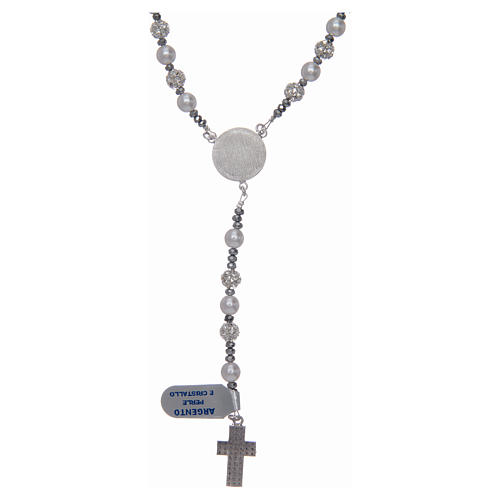 Rosary in 925 sterling silver and crystal 6 mm 2